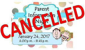 Parent Info Night Cancelled